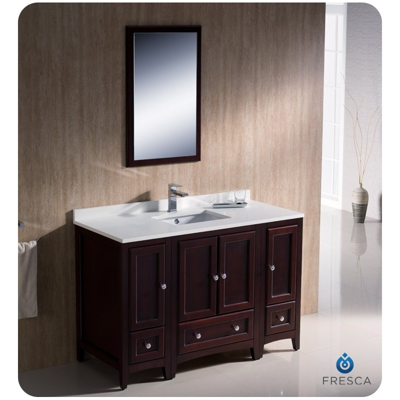 """Fresca FVN20-122412MH Oxford 48"""" Traditional Bathroom Vanity with 2 Side Cabinets in Mahogany"""