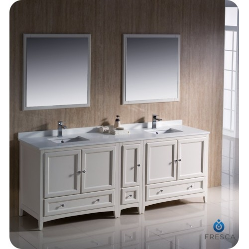 "Fresca Oxford 84"" Antique White Traditional Double Sink Bathroom Vanity"
