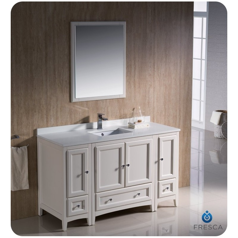 """Fresca FVN20-123012AW Oxford 54"""" Traditional Bathroom Vanity with 2 Side Cabinets in Antique White"""