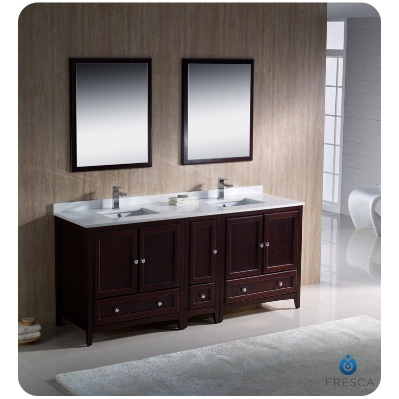 """Fresca FVN20-301230MH Oxford 72"""" Traditional Double Sink Bathroom Vanity with Side Cabinet in Mahogany"""