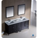 "Fresca FVN20-301230ES Oxford 72"" Traditional Double Sink Bathroom Vanity with Side Cabinet in Espresso"