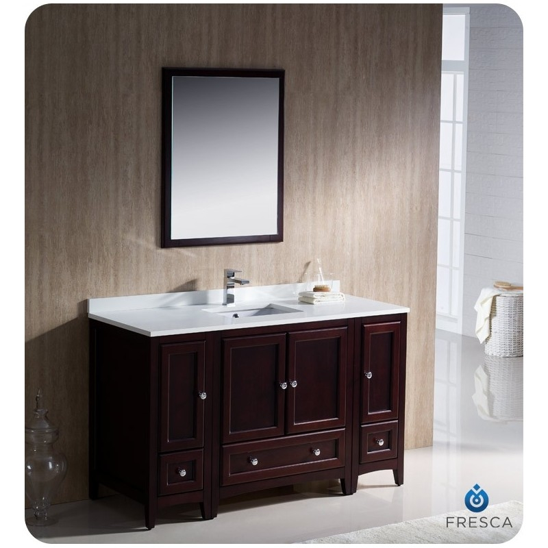 """Fresca FVN20-123012MH Oxford 54"""" Traditional Bathroom Vanity with 2 Side Cabinets in Mahogany"""