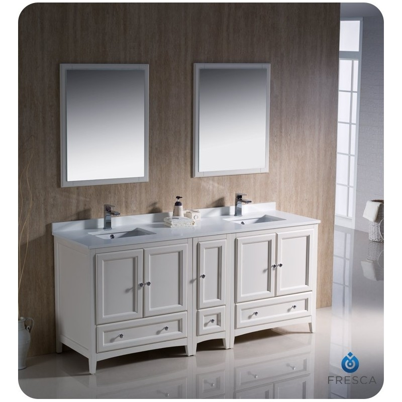 """Fresca FVN20-301230AW Oxford 72"""" Traditional Double Sink Bathroom Vanity with Side Cabinet in Antique White"""