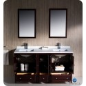 """Fresca FVN20-241224MH Oxford 60"""" Traditional Double Sink Bathroom Vanity with Side Cabinet in Mahogany"""
