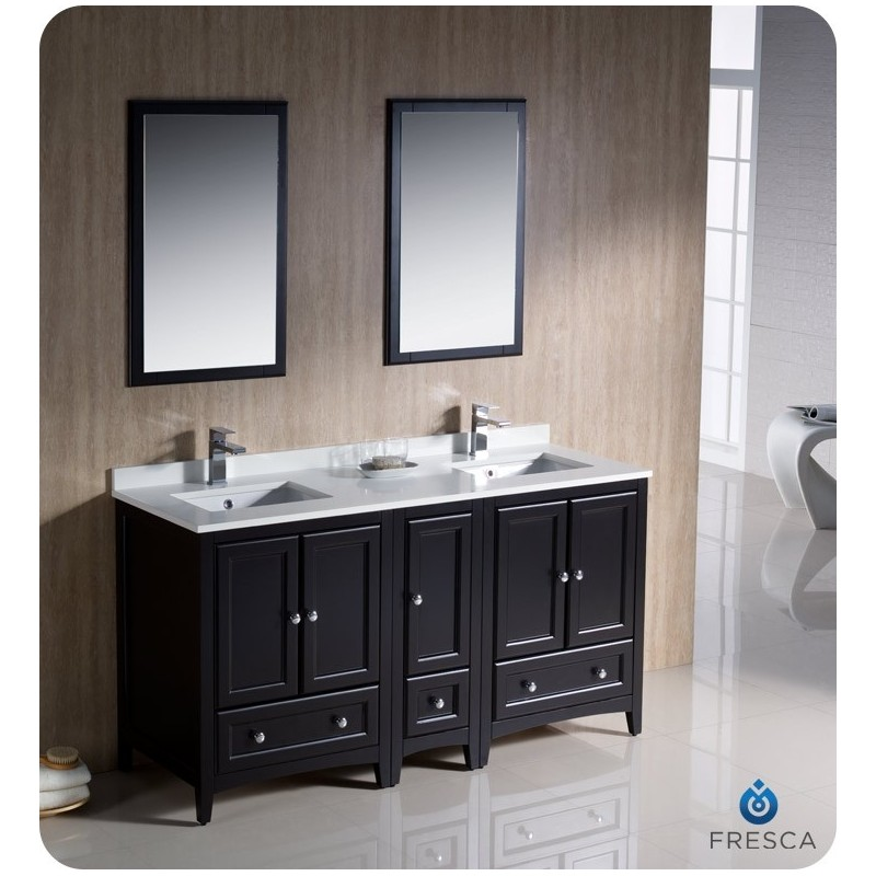 "Fresca FVN20-241224ES Oxford 60"" Traditional Double Sink Bathroom Vanity with Side Cabinet in Espresso"