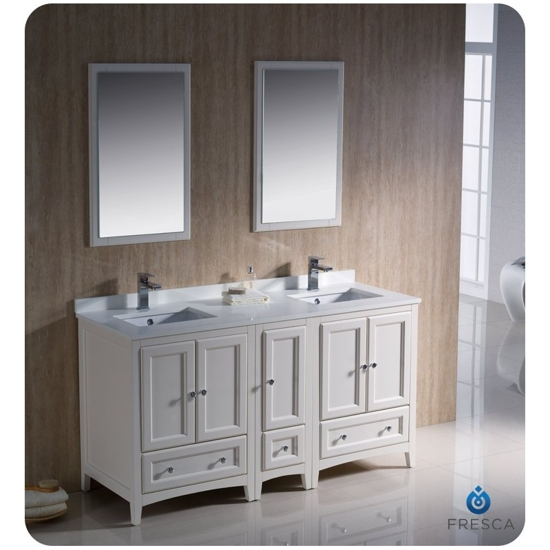"""Fresca FVN20-241224AW Oxford 60"""" Traditional Double Sink Bathroom Vanity with Side Cabinet in Antique White"""