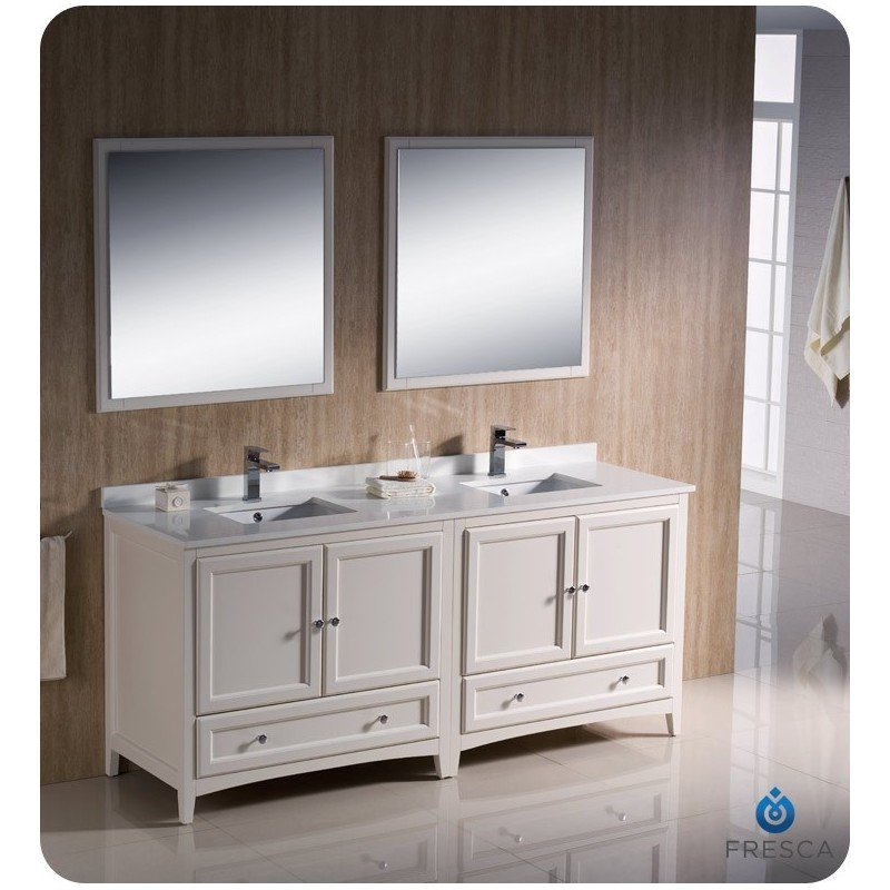 """Fresca FVN20-3636AW Oxford 72"""" Traditional Double Sink Bathroom Vanity in Antique White"""