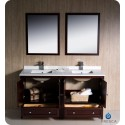 """Fresca FVN20-3030MH Oxford 60"""" Traditional Double Sink Bathroom Vanity in Mahogany"""