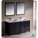 "Fresca FVN20-3030ES Oxford 60"" Traditional Double Sink Bathroom Vanity in Espresso"