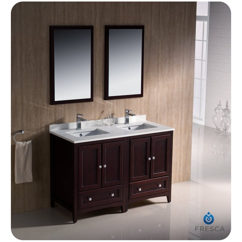"""Fresca FVN20-2424MH Oxford 48"""" Traditional Double Sink Bathroom Vanity in Mahogany"""