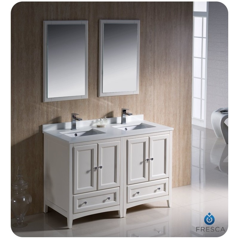 """Fresca FVN20-2424AW Oxford 48"""" Traditional Double Sink Bathroom Vanity in Antique White"""