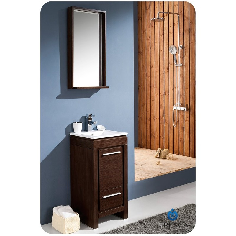 "Fresca FVN8118WG Allier 16"" Modern Bathroom Vanity with Mirror in Wenge Brown"