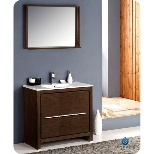 "Fresca Allier 36"" Wenge Brown Modern Bathroom Vanity w/ Mirror"