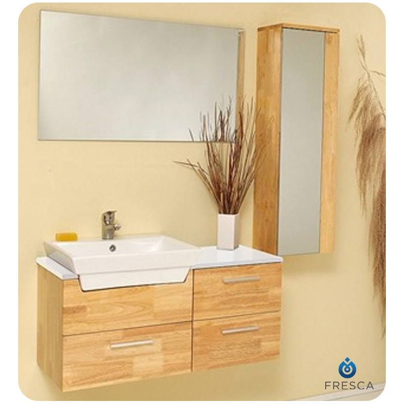 Fresca FVN6163NW Caro Modern Bathroom Vanity with Mirrored Side Cabinet in Natural Wood