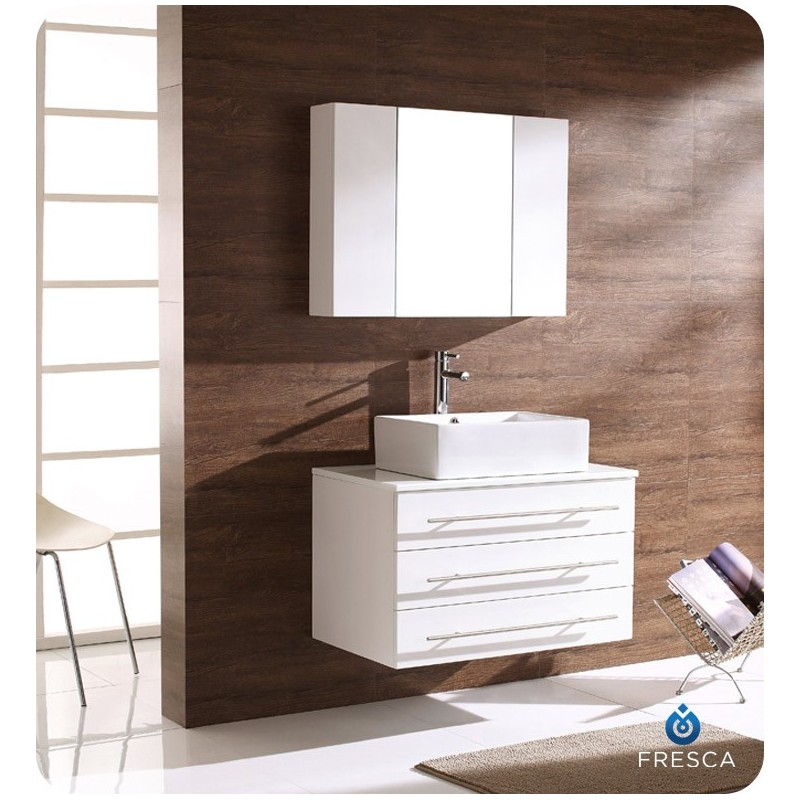 Fresca FVN6183WH Modello Modern Bathroom Vanity with Medicine Cabinet in White