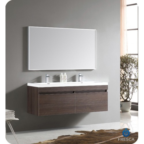 "Fresca Largo 57"" Gray Oak Modern Bathroom Vanity w/ Wavy Double Sinks"