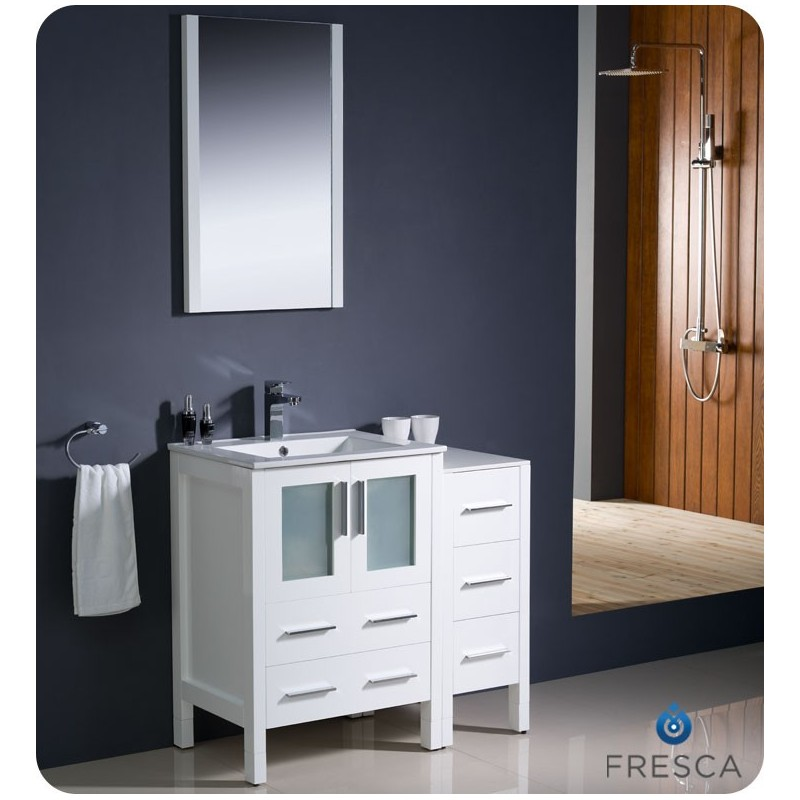"""Fresca FVN62-2412WH-UNS Torino 36"""" Modern Bathroom Vanity with Side Cabinet and Integrated Sink in White"""