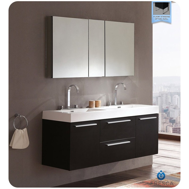 Fresca FVN8013BW Opulento Double Sink Modern Bathroom Vanity in Black