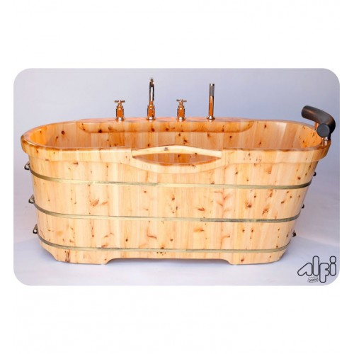 ALFI Brand AB1136 61 inch Free Standing Cedar Wood Bath Tub with Chrome Tub Filler