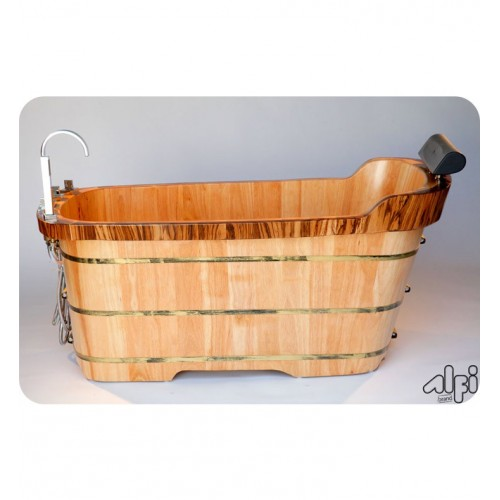 ALFI Brand AB1148 59 inch Free Standing Oak Wood Bath Tub with Chrome Tub Filler