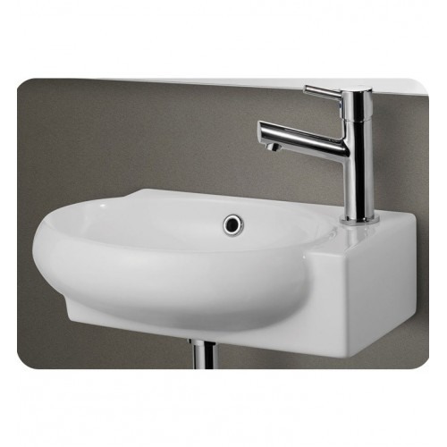 ALFI brand AB107 Small White Wall Mounted Ceramic Bathroom Sink Basin