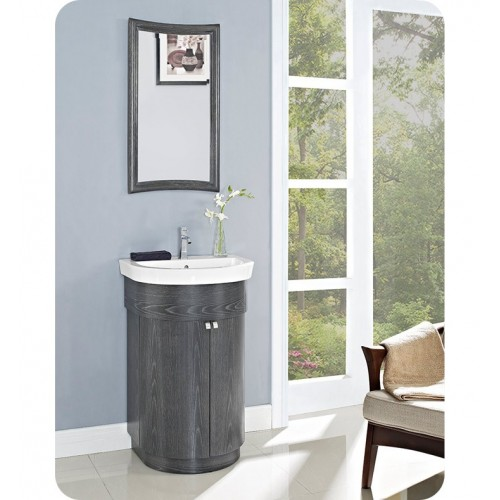 Fairmont Designs 150-V24 Bouelvard 24 inch Curved Vanity and Sink Set in Charcoal Gray