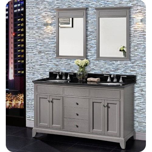 Fairmont Designs 1504-V6021D Smithfield 60 inch Double Bowl Vanity in Medium Gray
