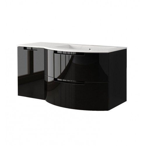 LaToscana OA43OPT3 Oasi 43 inch Modern Bathroom Vanity with 2 Slow Close Drawers Left Side Cabinet and Tekorlux Right Sink Top