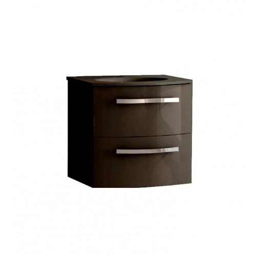 LaToscana PA22OPT1 Palio 22 inch Modern Bathroom Vanity with Chrome Handles, 2 Slow Close Drawers and Matching Painted Glass Sin