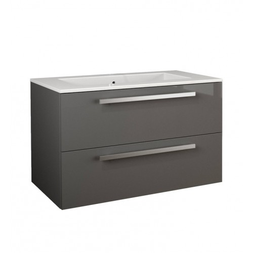 LaToscana AM34OPT1 Ambra 34 inch Modern Bathroom Vanity with 2 Slow Close Drawers, Flat Face, Chrome Handles and Tekorlux Sink T