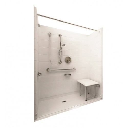 """Ella 6036BF5P-DLX Deluxe Barrier Free Roll In Shower Kit - 60"""" x 36"""""""