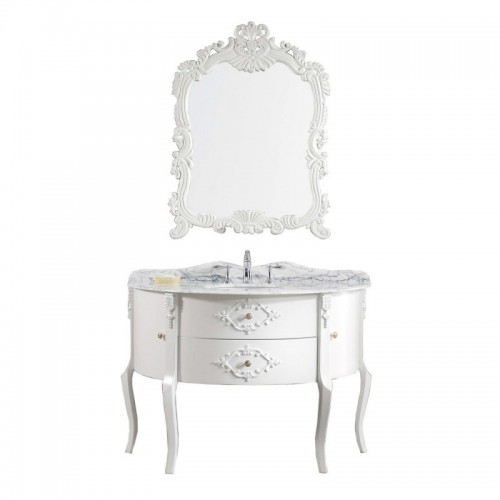 "Abigail 48"" Single Bathroom Vanity in White with Top and Round Sink with Brushed Nickel Faucet and Mirror"
