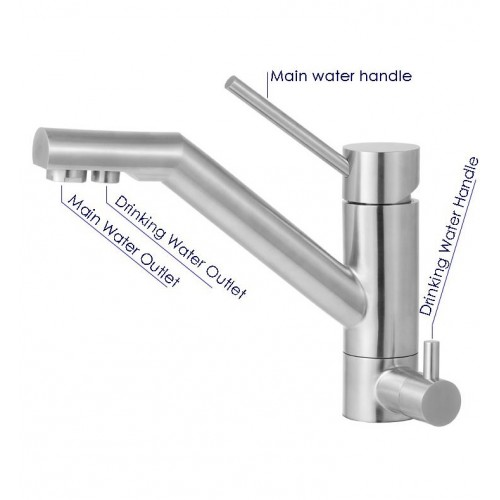 ALFI Brand AB2040-BSS Kitchen Faucet with Built-in Water Dispenser in Brushed Stainless Steel