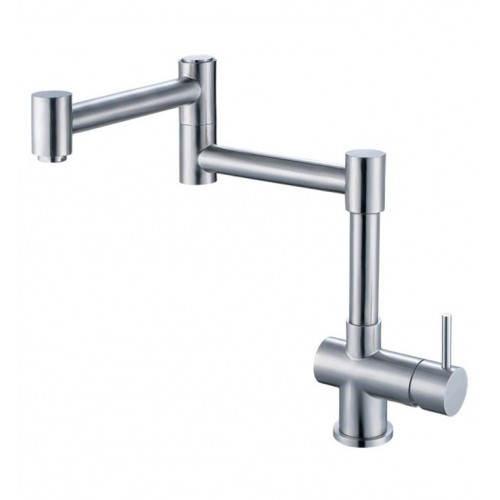 ALFI Brand AB2038-BSS Retractable Single Hole Kitchen Faucet in Brushed Stainless Steel