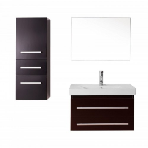 "Antonio 30"" Single Bathroom Vanity in Espresso with White Ceramic Top and Square Sink with Brushed Nickel Faucet and Mirror"