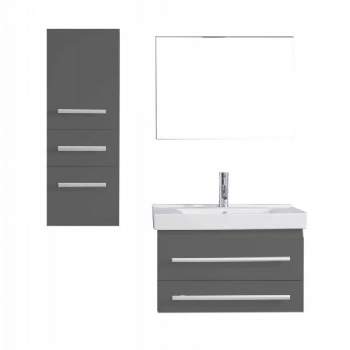 "Antonio 30"" Single Bathroom Vanity in Grey with White Ceramic Top and Square Sink with Polished Chrome Faucet and Mirror"