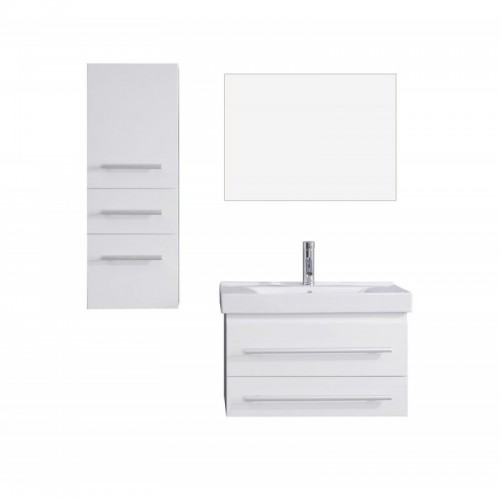 "Antonio 30"" Single Bathroom Vanity in White with White Ceramic Top and Square Sink with Polished Chrome Faucet and Mirror"