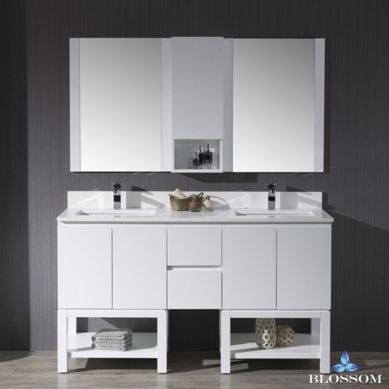 """Monaco 60"""" Double Vanity Set with Mirror and Wall Cabinet"""