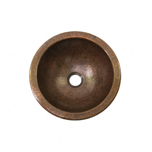 Houzer HW-BAB1RF Undermount Hand Hammered Copper Bathroom Sink in Antique Copper Finish