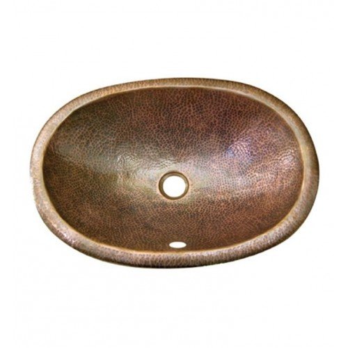 Houzer HW-ELI1ES Oval Self Rimming Hand Hammered Copper Bathroom Sink in Antique Copper Finish