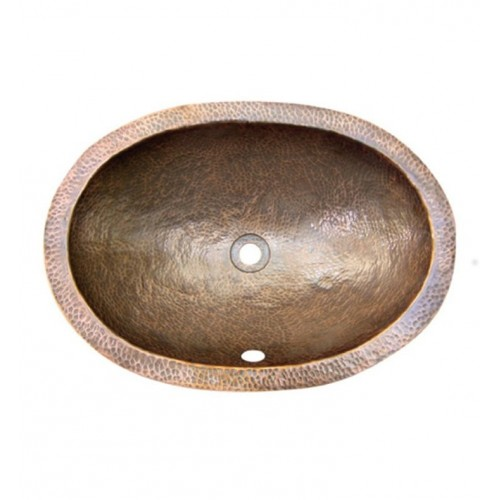 Houzer HW-ELI1EF Oval Undermount Hand Hammered Copper Bathroom Sink in Antique Copper Finish