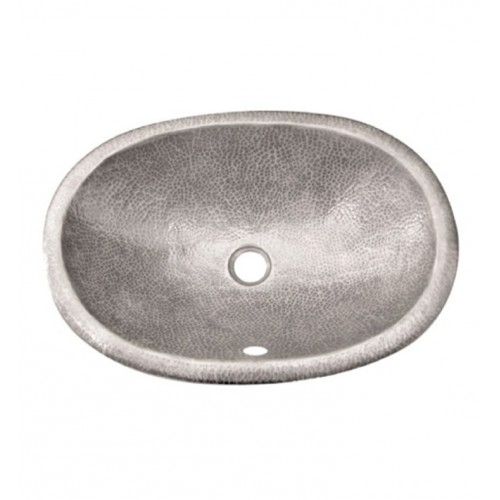 Houzer HW-ELI2ES Oval Self Rimming Hand Hammered Copper Bathroom Sink in Pewter Finish