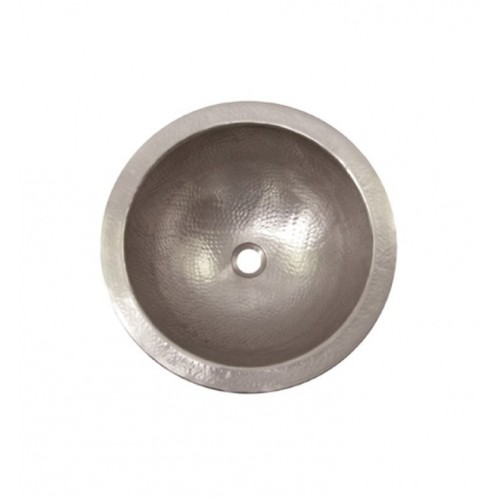 Houzer HW-AUG2RF Undermount Round Hand Hammered Copper Bathroom Sink in Pewter Finish