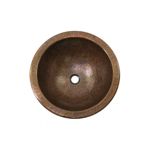 Houzer HW-AUG1RF Undermount Round Hand Hammered Copper Bathroom Sink in Antique Copper Finish