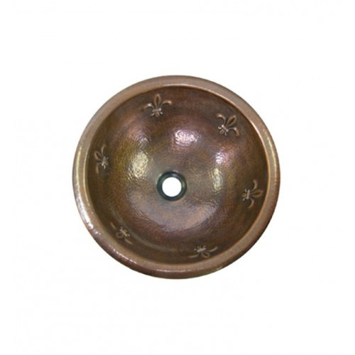 Houzer HW-FAM1RS Self Rimming Hand Hammered Copper Bathroom Sink in Antique Copper Finish