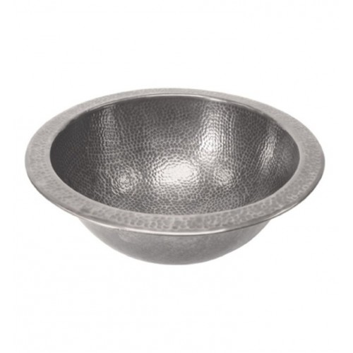 Houzer HW-CLA2RF Undermount Round Hand Hammered Copper Bathroom Sink in Pewter Finish