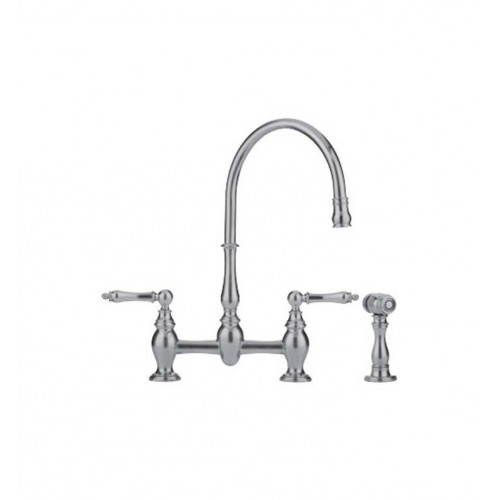 Franke FF6080a Satin Nickel Bridge High Arch Kitchen Faucet with Side Spray
