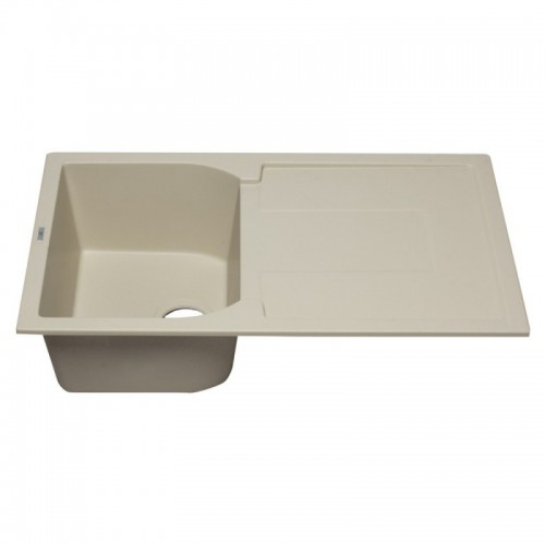 "ALFI brand AB1620DI-B Biscuit 34"" Single Bowl Granite Composite Kitchen Sink with Drainboard"