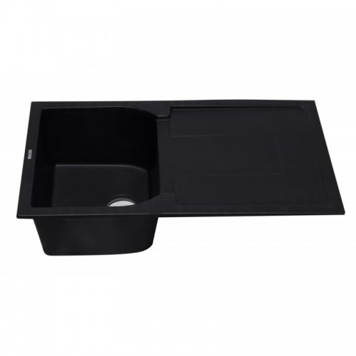 "ALFI brand AB1620DI-BLA Black 34"" Single Bowl Granite Composite Kitchen Sink with Drainboard"