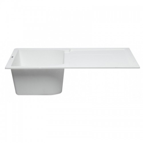 "ALFI brand AB1620DI-W White 34"" Single Bowl Granite Composite Kitchen Sink with Drainboard"